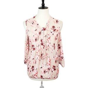 Ember Pink Floral Cold-Shoulder Mesh Top Medium